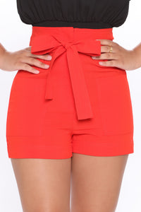 Melody Tie Waist Linen Shorts - Red Angle 2