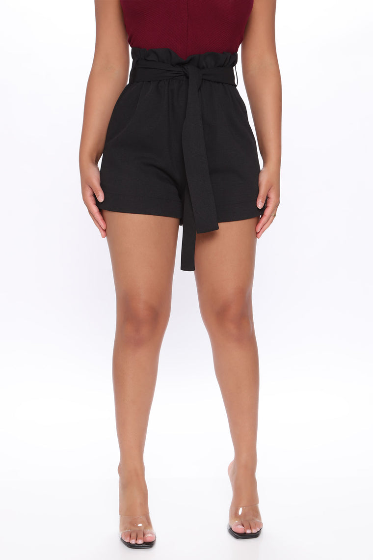Tied High Waist Shorts - Black