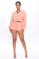 Just To Chill Terry Cloth Lounge Short Set - Peach