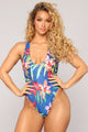 Plunge Me One Piece Swimsuit - Tropical