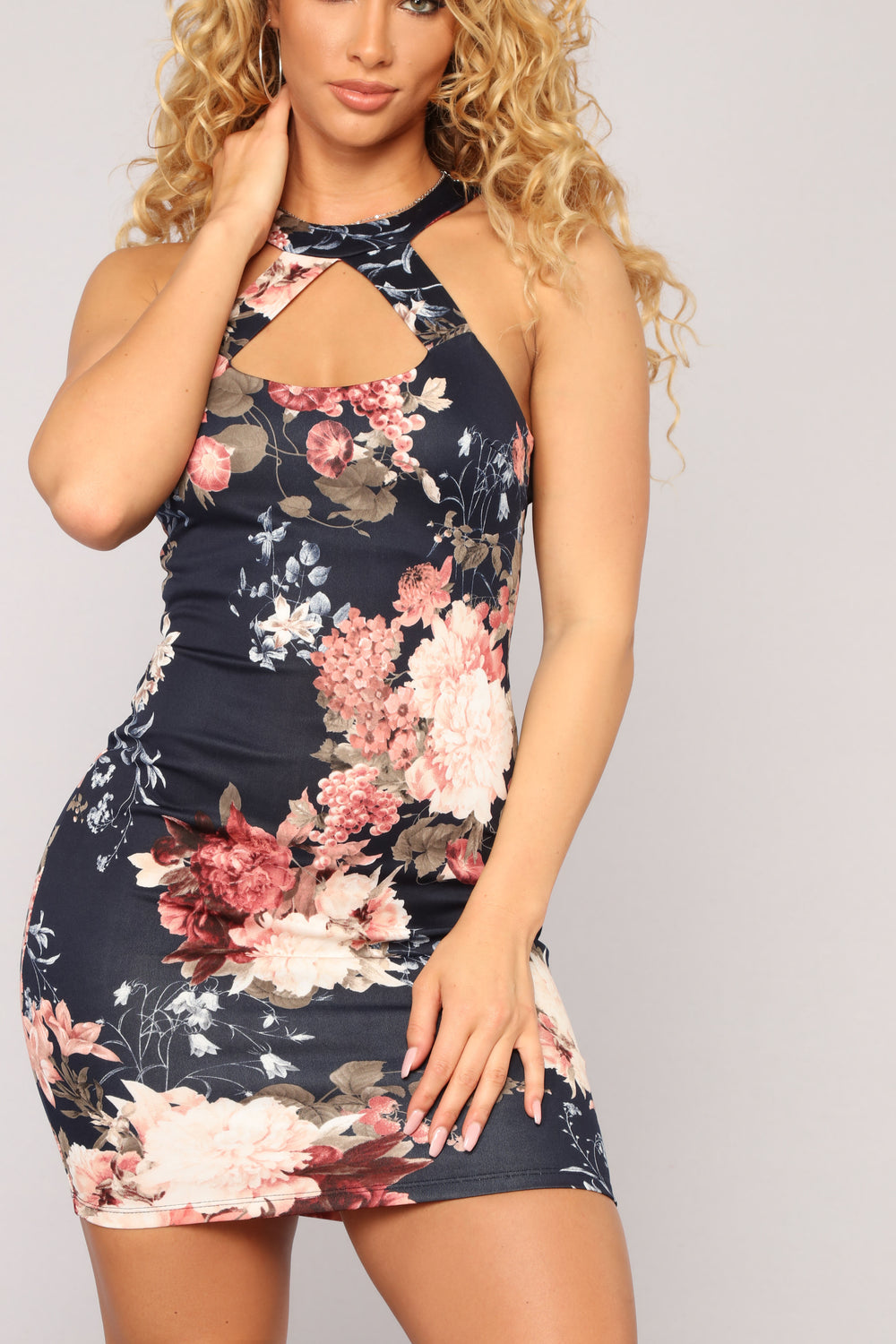 For A Moment Floral Dress - Navy