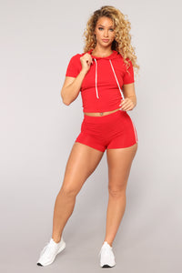 Tennis Game Short Sleeve Set - Red