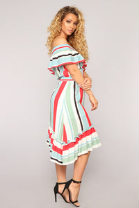 Barcelona Nights Ruffle Dress - Multi