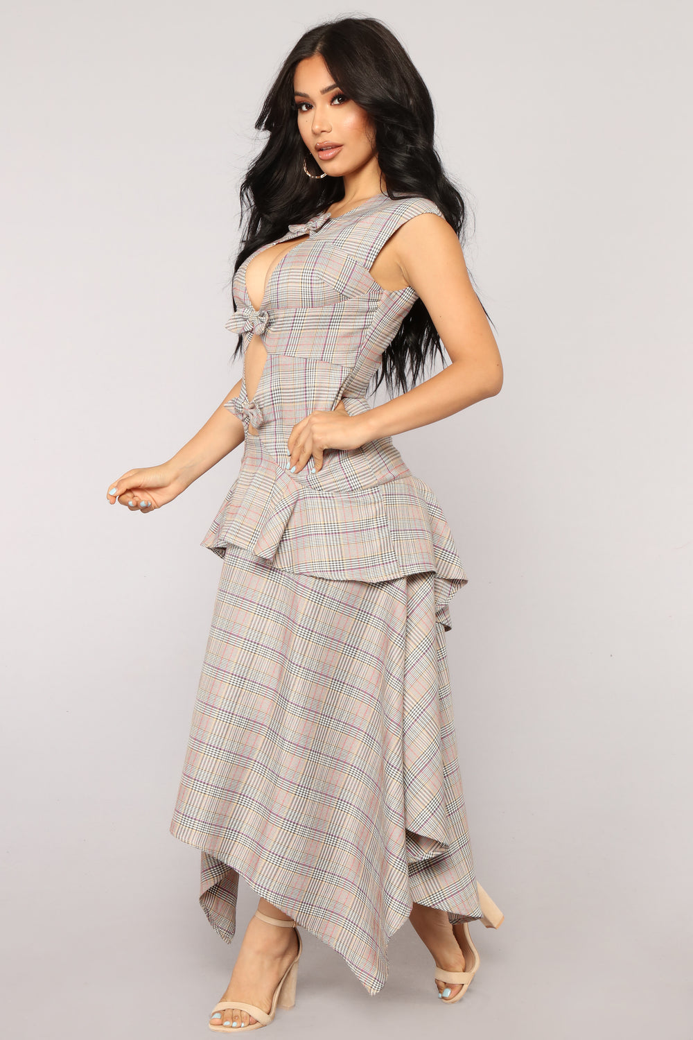 Pretty In Plaid Maxi Dress - Brown/combo