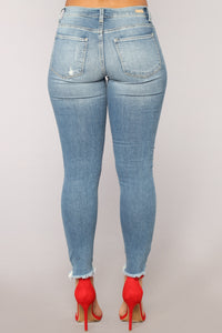 Lauren Mid Rise Distressed Jeans - Light Blue Wash