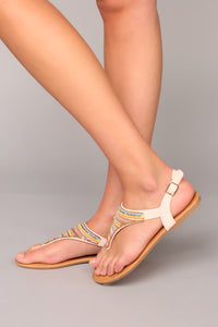 Beaded Business Sandals - Blush