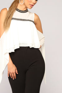 Float On Chiffon Jumpsuit - Black/White
