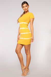 Perfect Weather Tie Dye Dress - Mustard