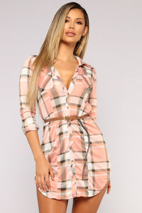 My Glamping Plaid Dress - Blush