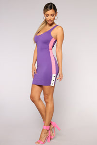 Snap Out Of It Dress - Purple/Neon Pink