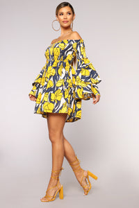 Daffodil Smocked Off Shoulder Dress - Yellow/combo