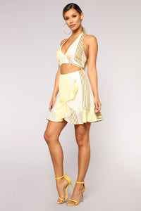Sunny Weather Halter Dress - Yellow