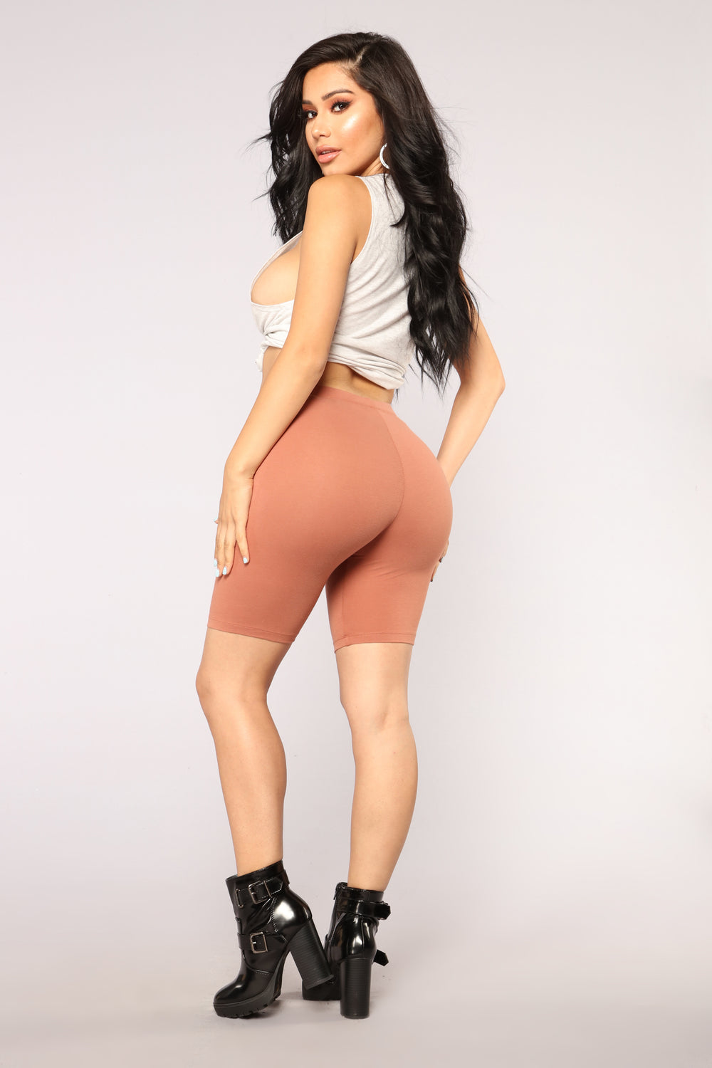 Natalee Biker Shorts - Brown