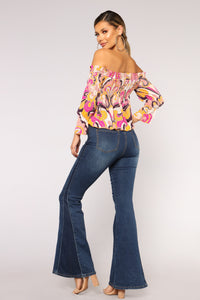 Penelope Paisley Off Shoulder Top - Fuchsia Multi