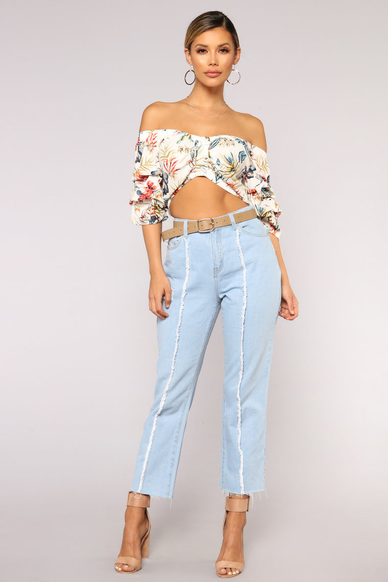 Tropical Wanderlust Off Shoulder Top - White