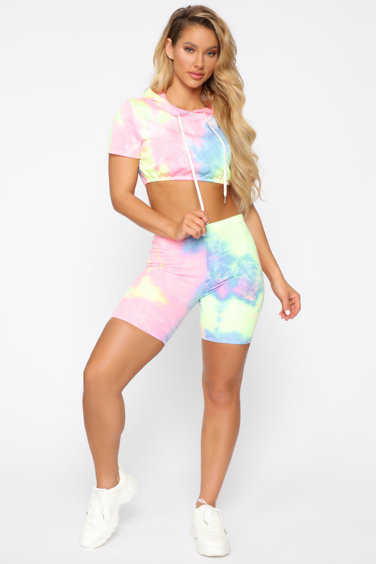 All Tied Up In Your World Short Set   Pink/Multi by Fashion Nova