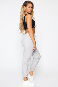 On The Go Drawstring Joggers - Grey