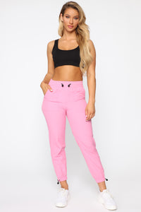 On The Go Drawstring Joggers - Coral