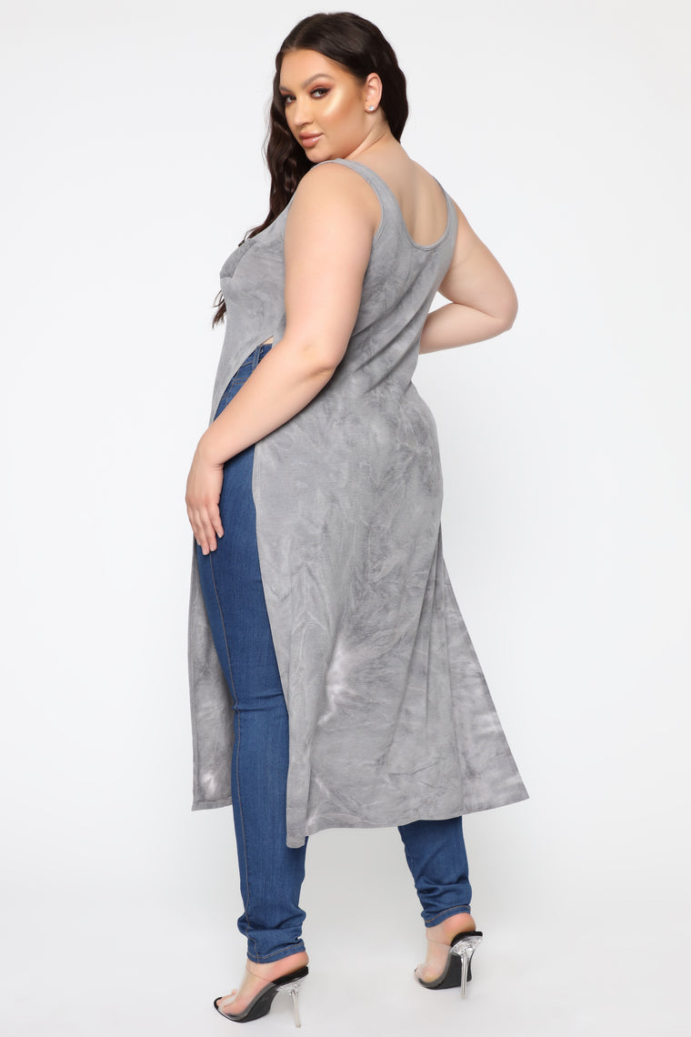 Out And About Maxi Top - Charcoal