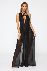 Sprung In The Sun Swim Cover Up Dress - Black