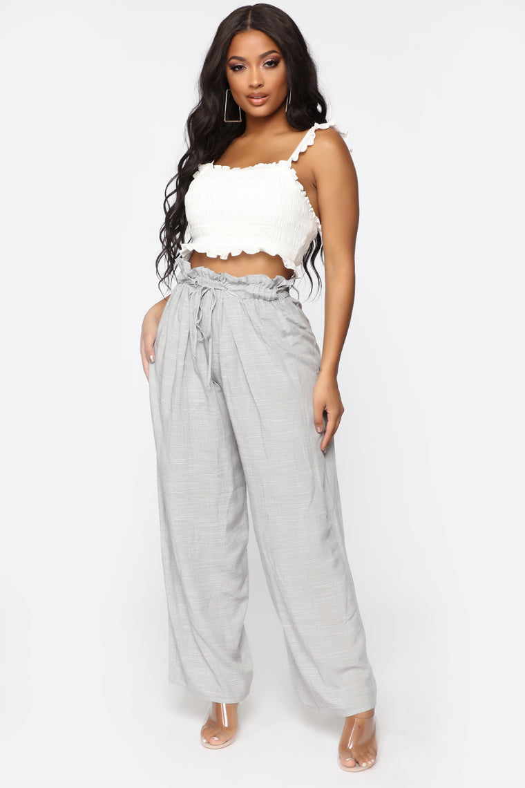 She's The Boss Flare Pants - Grey