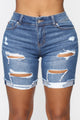 Got The Game Bermuda Shorts - Medium Blue Wash