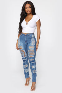 Sydney High Rise Distressed Jeans - Blue Angle 3