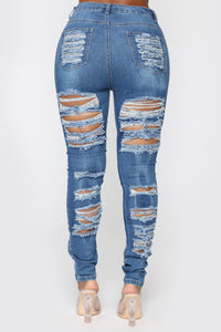 Sydney High Rise Distressed Jeans - Blue Angle 6