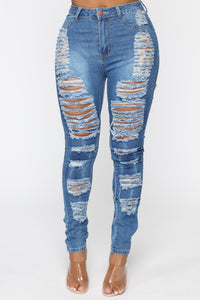 Sydney High Rise Distressed Jeans - Blue Angle 4