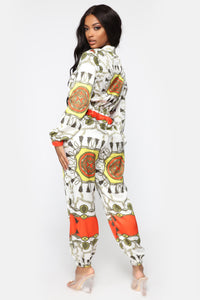 Tiana Printed Jogger Jumpsuit - Orange/Combo