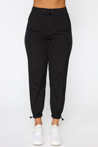 On The Go Drawstring Joggers - Black Angle 2