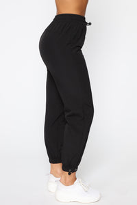 On The Go Drawstring Joggers - Black Angle 4