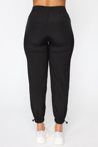 On The Go Drawstring Joggers - Black Angle 6