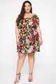 Walking Flower Mini Dress - Black/combo