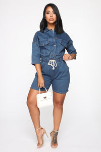 Serenity Denim Romper - Medium Blue Wash
