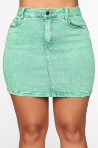 She Can Get A Taste Denim Skirt - Neon Green Angle 2