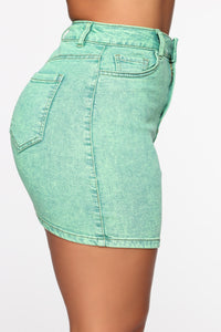 She Can Get A Taste Denim Skirt - Neon Green Angle 4