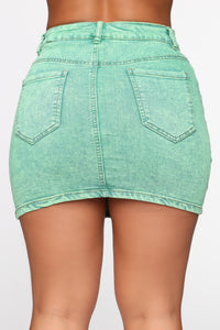She Can Get A Taste Denim Skirt - Neon Green Angle 6