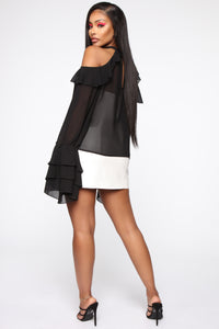 I'm On My Own Competition Ruffle Top - Black