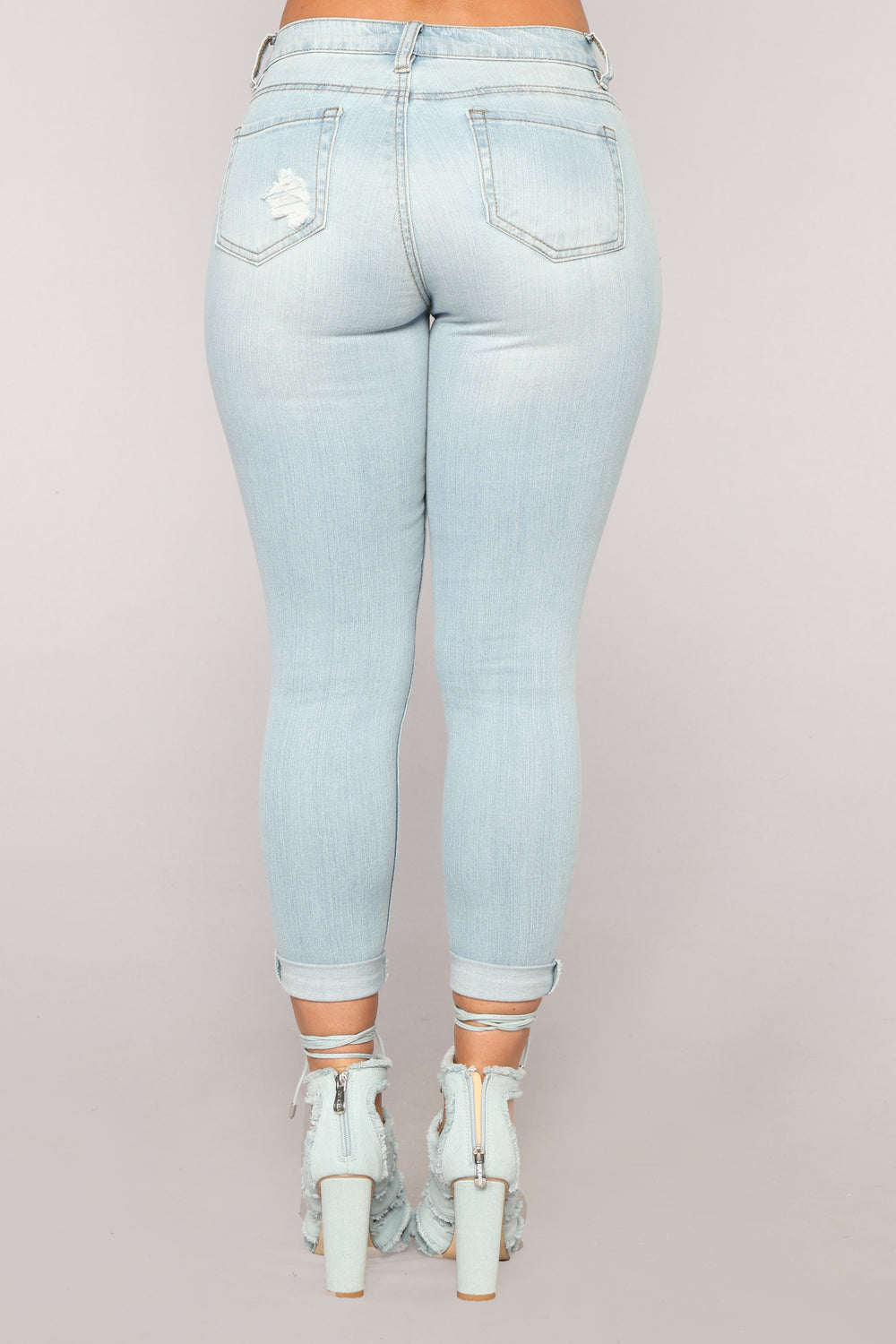 Megan High Rise Ankle Jeans - Light Blue Wash