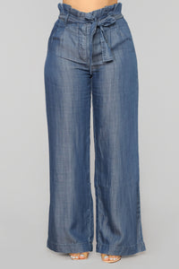 Strong Vibes Tie Waist Pants - Medium Blue Wash
