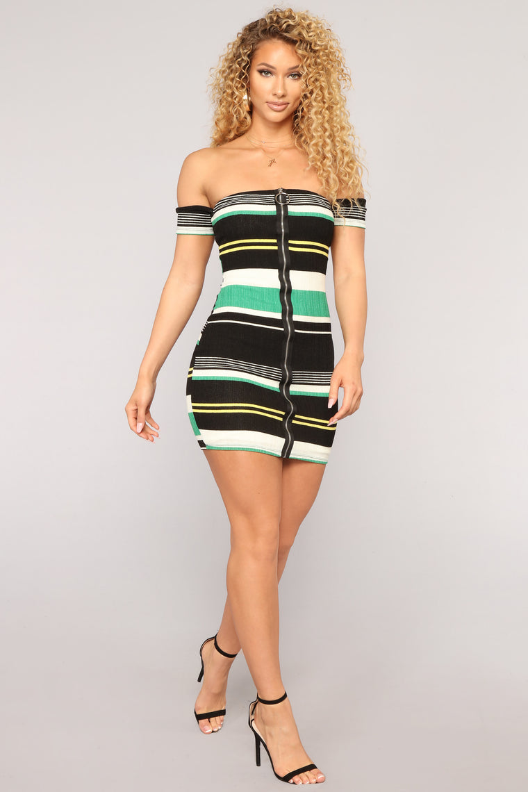 Wrong Timing Off Shoulder Dress - Green