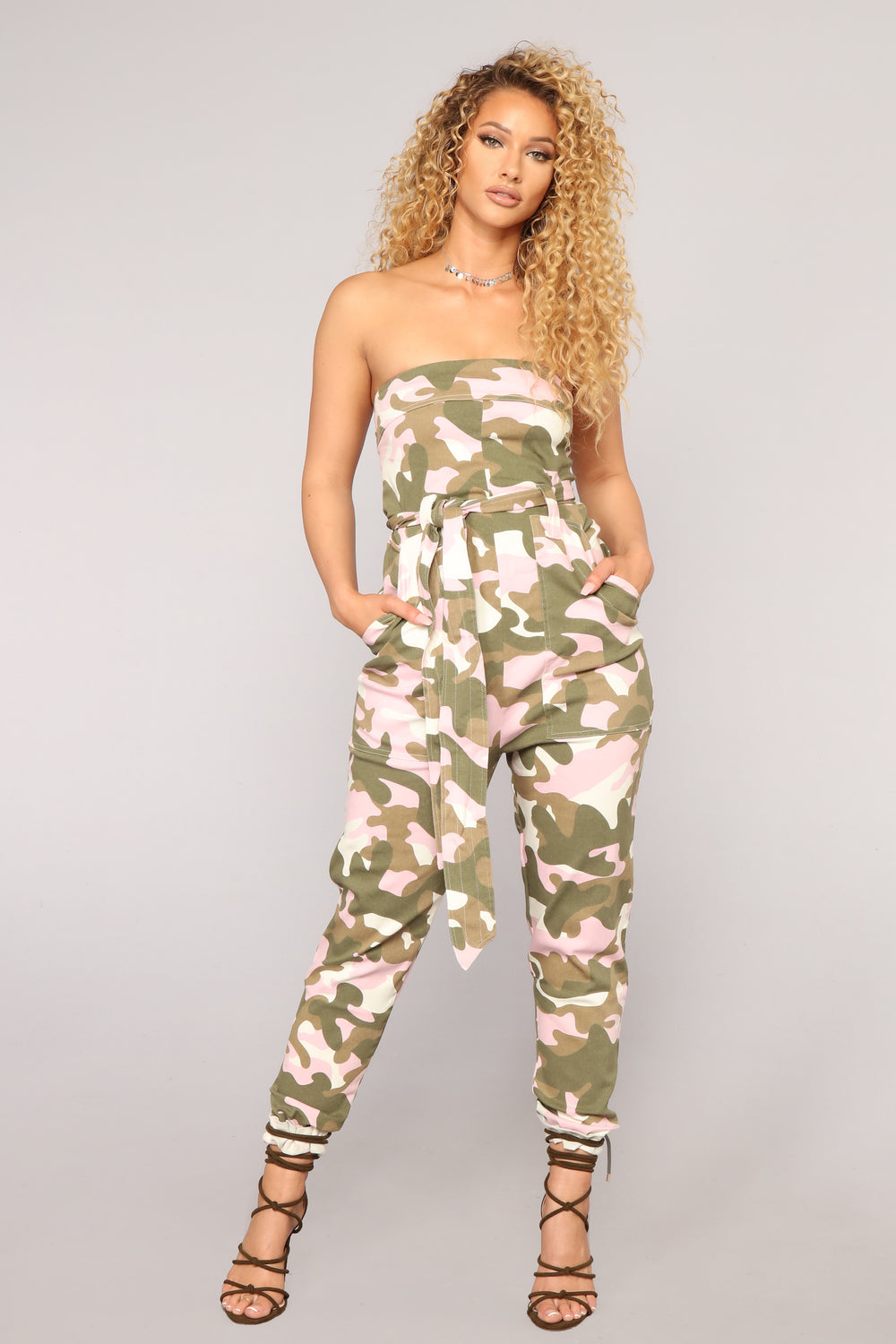 I Need A Soulja Camo Jumpsuit - Pink/White
