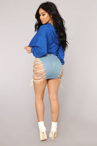 Hotter Than You Lace Up Skirt - Blue