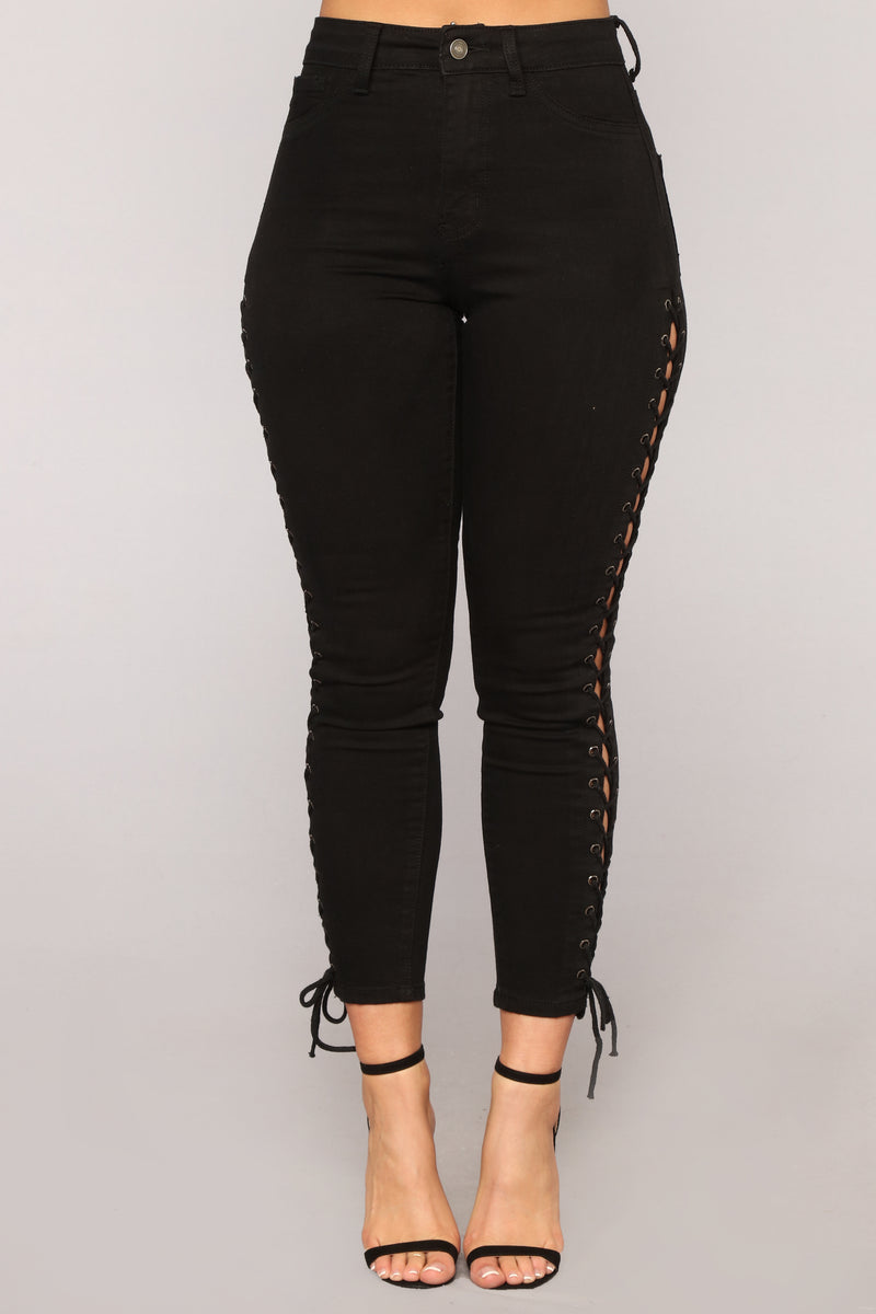 All Wound Up Lace Up Ankle Jeans - Black