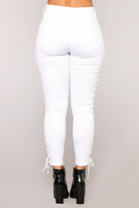 Wound Up Lace Up Ankle Jeans - White