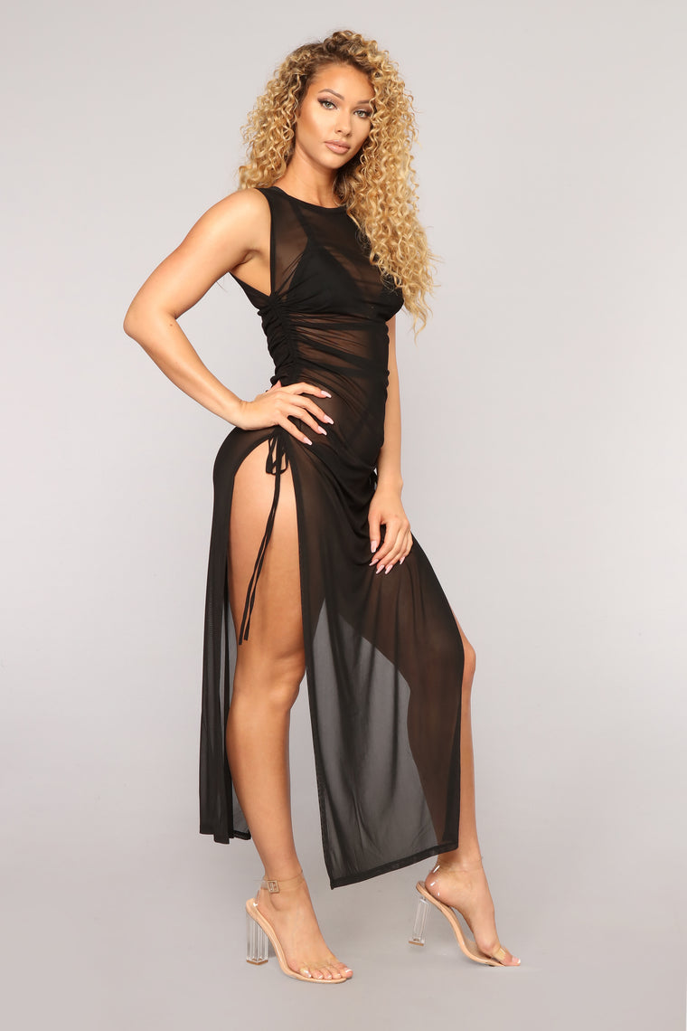 Away From Reality Coverup Dress - Black