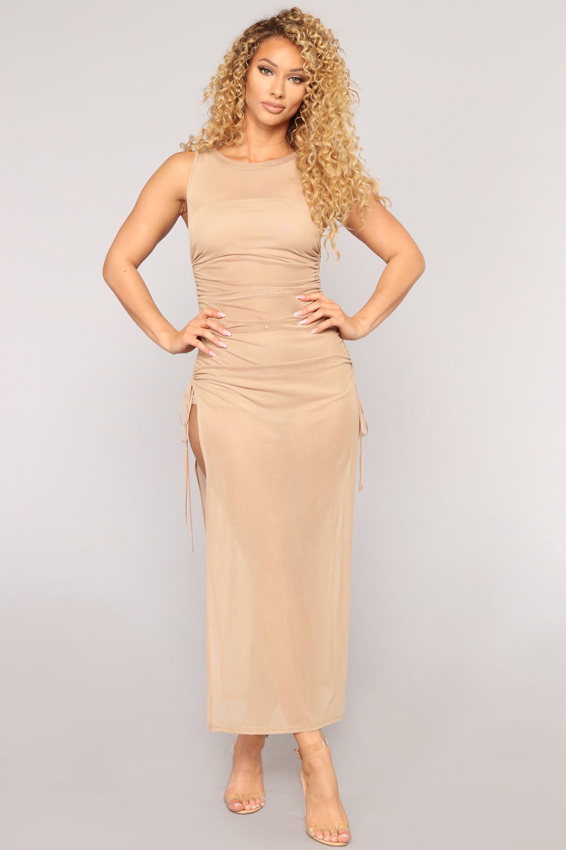 Away From Reality Coverup Dress - Nude