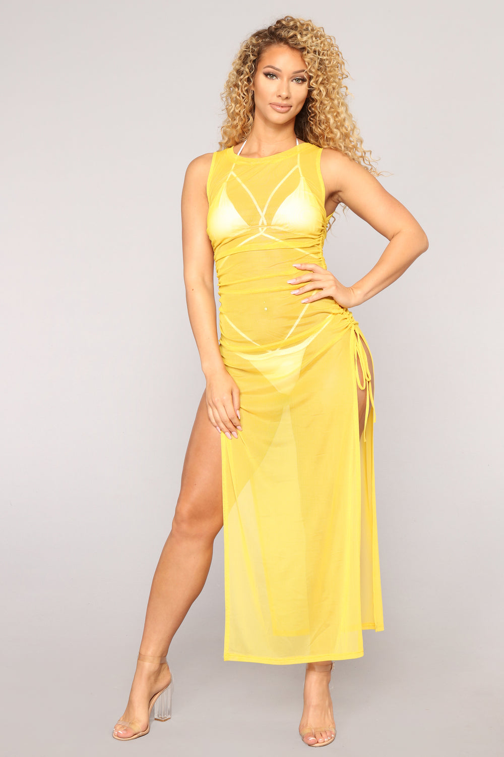 Away From Reality Coverup Dress - Yellow