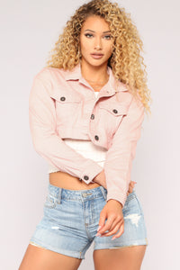 Lets Get To It Denim Jacket - Pink
